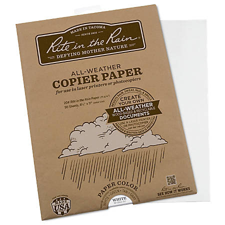 "Rite in the Rain® All-Weather Printer Paper, 8-1/2"" x 11-3/4"", 85 (U.S.) Brightness, 20 Lb, 50 Sheets"
