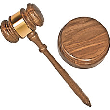 Advantus Brass Engraved Gavel Set Brass