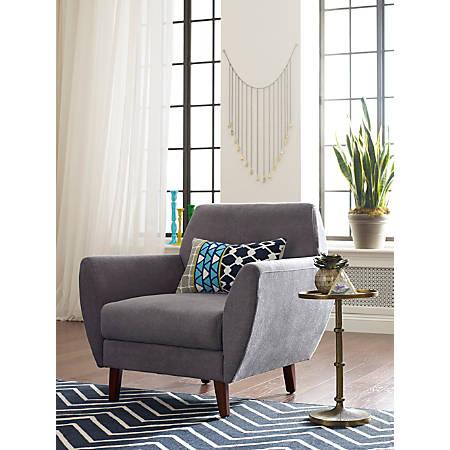 Elle Décor Amelie Mid-Century Modern Arm Chair, Dark Gray/Chestnut