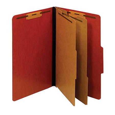 "Pendaflex® Pressboard Moisture-Resistant Classification Folders, 2 1/2"" Expansion, Legal Size, Red, Box Of 10 Folders"