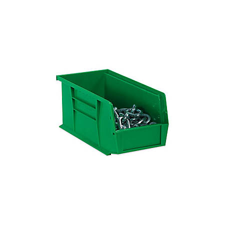 """B O X Packaging Plastic Stackable Bin Boxes, 7 3/8"""" x 4 1/8"""" x 3"""", Green, Case Of 24"""