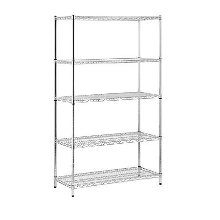 "Honey-Can-Do Urban Steel Adjustable Storage Shelving Unit, 5-Tiers, 72""H x 42""W x 18""D, Chrome"