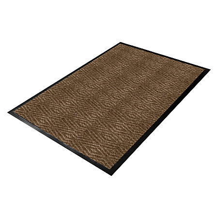 Genuine Joe Dual-Ribbed Indoor Floor Mat, 3' x 5', Chocolate