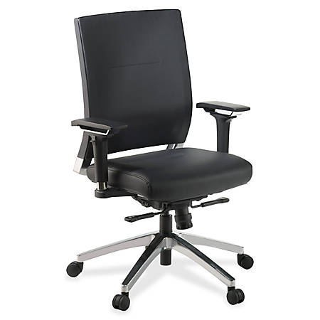 Lorell® Executive Leather Swivel Chair, Black