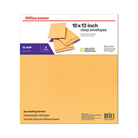 "Office Depot® Brand Clasp Kraft Paper Envelopes, 10"" x 13"", Brown, Pack Of 5"