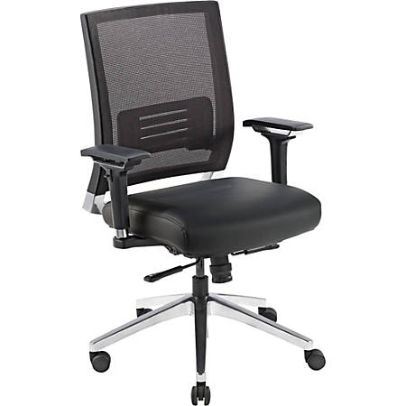 Lorell® Executive Multifunction Mesh/Leather Swivel Chair, Black