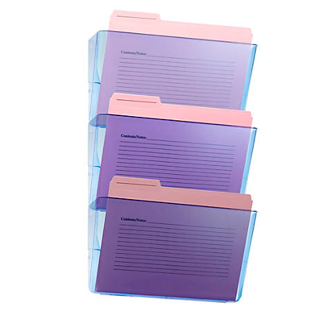 "Officemate Blue Glacier Wall Files, 15"" x 13"" x 4 1/8"", Blue, Pack Of 3"