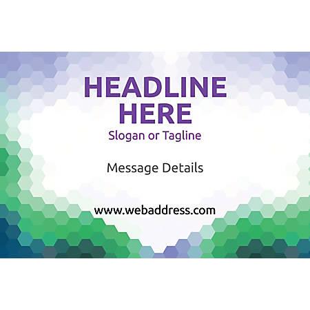 Adhesive Sign, Purple Green Honeycomb, Horizontal