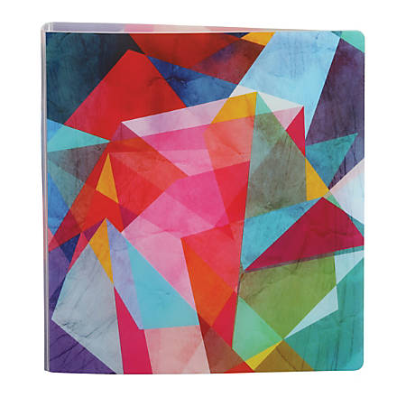 "Office Depot® Brand EverBind™ D-Ring View Binder, 1"" Rings, Geometric Watercolor"