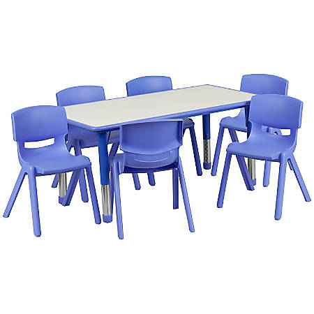 """Flash Furniture Plastic Height-Adjustable Activity Table with 6 Chairs, 23-1/2""""H x 23-5/8''W x 47-1/4''D, Blue"""