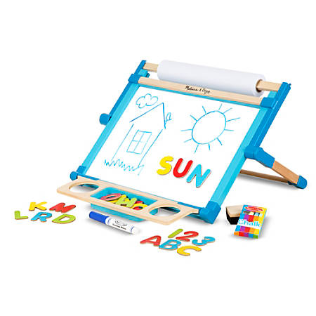 Melissa & Doug Double-Sided Magnetic Tabletop Easel, Wood, Multicolor