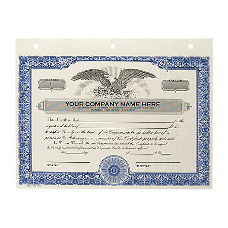 Custom Corporate Stock Certificates, 3-Hole Punched, Blue, Pack Of 20 Certificates