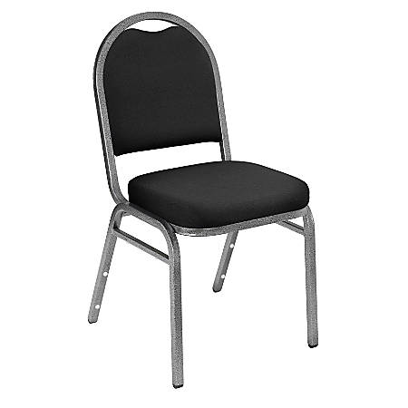National Public Seating Dome-Back Stacking Chairs, Fabric, Ebony Black/Silvervein, Set Of 2