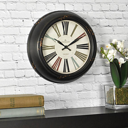 """FirsTime® Black Relic Wall Clock, 10"""", Distressed Black"""