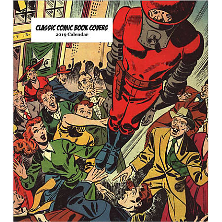 "Retrospect Monthly Desk Calendar, Classic Comic Book Covers, 6-1/4"" x 5-1/4"", Multicolor, January to December 2019"