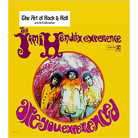 "Retrospect Monthly Desk Calendar, The Art Of Rock & Roll, 6-1/4"" x 5-1/4"", Multicolor, January to December 2019"