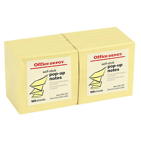 "Office Depot® Brand Pop-Up Notes, 3"" x 3"", Yellow, 100 Sheets Per Pad, Pack Of 12"