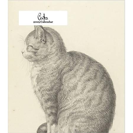 "Retrospect Monthly Desk Calendar, The Art Of Cats, 6-1/4"" x 5-1/4"", Multicolor, January to December 2019"