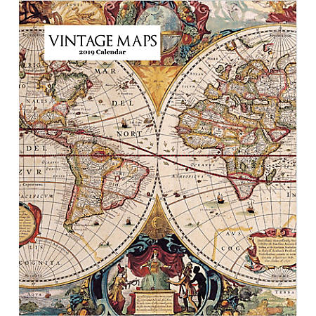 "Retrospect Monthly Desk Calendar, Vintage Maps, 6-1/4"" x 5-1/4"", Multicolor, January to December 2019"