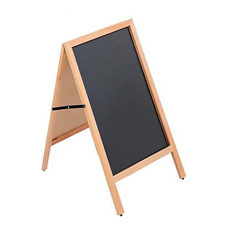 "Azar Displays 2-Sided A-Frame Chalkboard, 30-3/4"" x 23-1/2"", Black, Brown Frame"