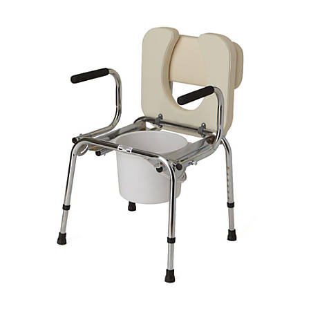Guardian Drop-Arm Padded Commode, Chrome
