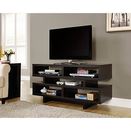 """Monarch Specialties Open-Concept TV Stand For Flat-Screen TVs Up To 48"""", Cappuccino"""