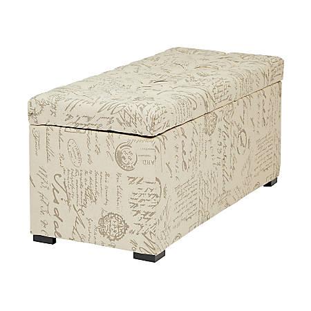 Office Star™ Ave Six® Sahara Tufted Storage Bench, Gray/White Script