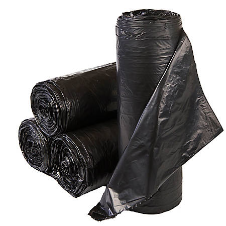 "Inteplast LLDPE Can Liners, 0.9 mil, 38"" x 58"", Black, Pack Of 100 Liners"