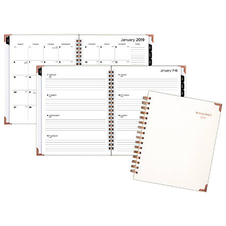 "AT-A-GLANCE® Boa Weekly/Monthly Planner, 6 7/8"" x 8 3/4"", Pearl, January to December 2019"