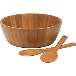 Lipper Bamboo Salad Bowl with Servers