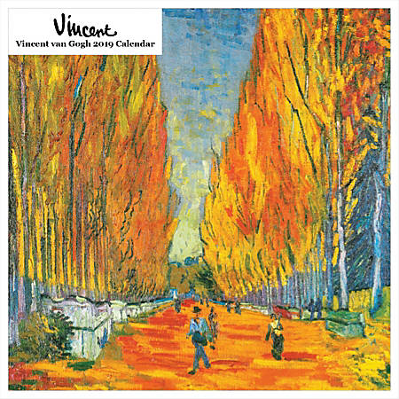 """Retrospect Square Monthly Wall Calendar, Vincent van Gogh, 12-1/2"""" x 12"""", Multicolor, January to December 2019"""
