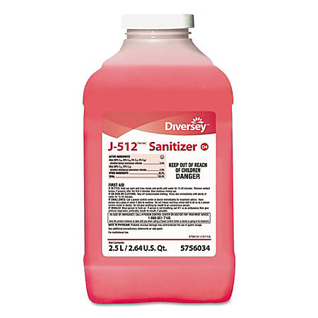 Diversey™ J-512TM/MC Sanitizer, Quaternary Scent, 84.5 Oz, Pink, Pack Of 2