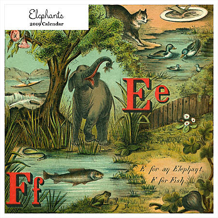 """Retrospect Square Monthly Wall Calendar, Elephants, 12-1/2"""" x 12"""", Multicolor, January to December 2019"""
