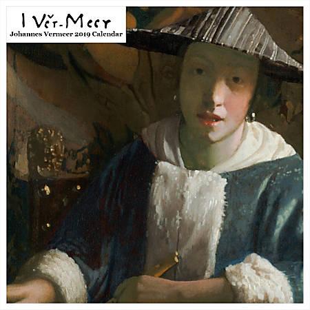 "Retrospect Square Monthly Wall Calendar, Johannes Vermeer, 12-1/2"" x 12"", Multicolor, January to December 2019"