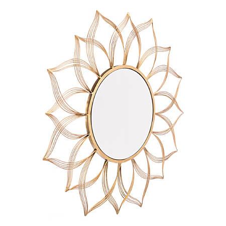 """Zuo Modern Flower Round Mirror, 27 5/8""""H x 27 5/8""""W x 13/16""""D, Gold"""