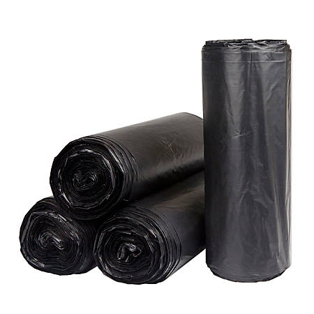 "Inteplast HDPE Can Liners, 22 Microns, 38"" x 60"", Black, Pack Of 150 Liners"