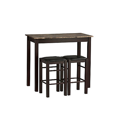 Linon Home Tavern 3-Piece Counter Set, Espresso/Black