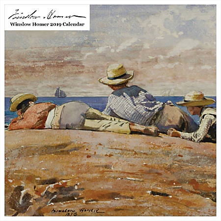 "Retrospect Square Monthly Wall Calendar, Winslow Homer, 12-1/2"" x 12"", Multicolor, January to December 2019"