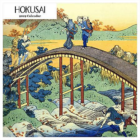 """Retrospect Square Monthly Wall Calendar, Hokusai, 12-1/2"""" x 12"""", Multicolor, January to December 2019"""