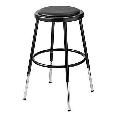 """National Public Seating 6400H-10 Adjustable-Height Stools, 19""""H, Black, Set Of 5 Stools"""