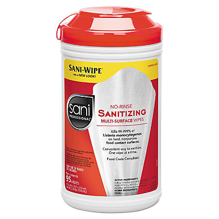 Sani Professional® Table Turners® No-Rinse Sanitizing Wipes, 18 Oz, 95 Wipes Per Canister, Pack Of 6 Canisters