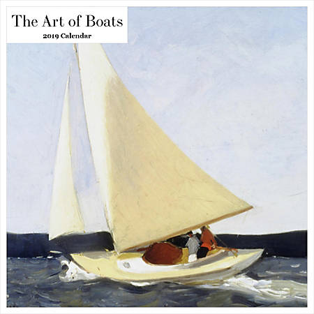 """Retrospect Square Monthly Wall Calendar, The Art Of Boats, 12-1/2"""" x 12"""", Multicolor, January to December 2019"""
