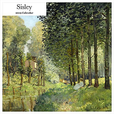 """Retrospect Square Monthly Wall Calendar, Alfred Sisley, 12-1/2"""" x 12"""", Multicolor, January to December 2019"""