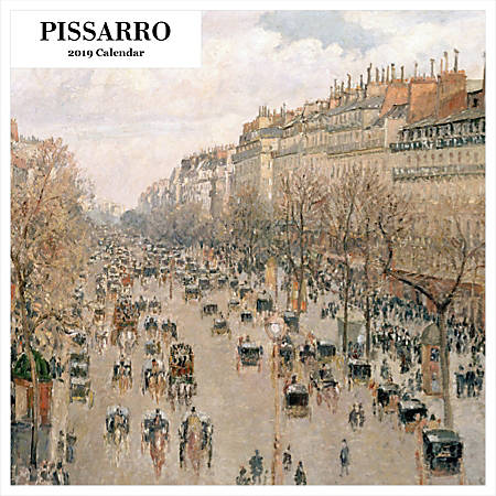 """Retrospect Square Monthly Wall Calendar, Camille Pissarro, 12-1/2"""" x 12"""", Multicolor, January to December 2019"""