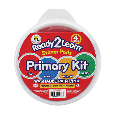 Center Enterprises Jumbo Washable Stamp Pads, Primary Kit, 3 Oz, Assorted Colors, Pack Of 4