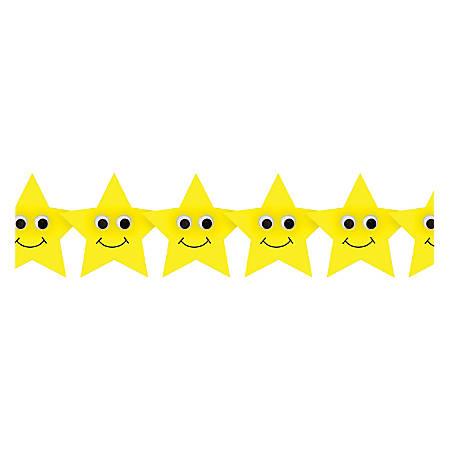 """Hygloss Happy Yellow Stars Border Strips - 12 (Happy Stars) Shape - Damage Resistant, Durable, Long Lasting - 36"""" Height x 3"""" Width - Yellow - 12 / Pack"""