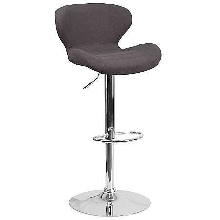 Flash Furniture Contemporary Adjustable Fabric Bar Stool, Gray/Charcoal