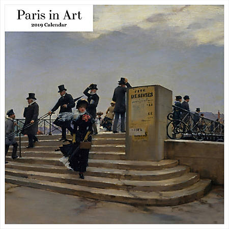 """Retrospect Square Monthly Wall Calendar, Paris In Art, 12-1/2"""" x 12"""", Multicolor, January to December 2019"""