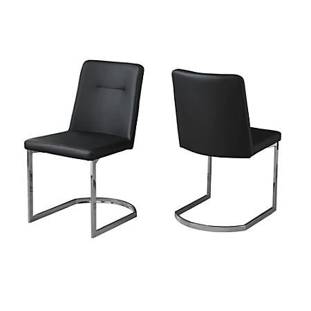 Monarch Specialties Alexa Dining Chairs, Black/Chrome, Set Of 2 Chairs