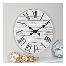 FirsTime Co Shiplap Round Wall Clock